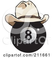 Royalty Free RF Clipart Illustration Of A Black Eight Ball Wearing A Cowboy Hat