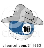 Royalty Free RF Clipart Illustration Of A Blue And White 10 Billiards Pool Ball Wearing A Cowboy Hat