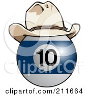 Royalty Free RF Clipart Illustration Of A Blue And White 10 Billiards Ball Wearing A Cowboy Hat by Dennis Holmes Designs
