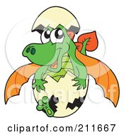 Royalty Free RF Clipart Illustration Of A Green And Orange Baby Dragon Hatching From An Egg