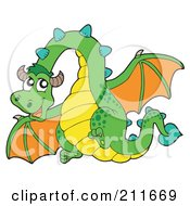 Royalty Free RF Clipart Illustration Of A Green And Orange Dragon Flying
