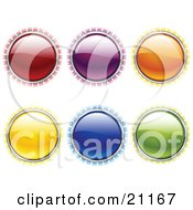 Clipart Illustration Of A Collection Of Red Purple Orange Yellow Blue And Green Internet Buttons With Bright Light Rays