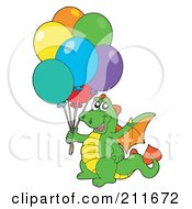 Royalty Free RF Clipart Illustration Of A Happy Dragon Holding A Bundle Of Party Balloons