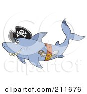 Royalty Free RF Clipart Illustration Of A Pirate Shark With A Knife In His Belt