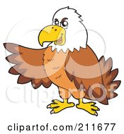 Royalty Free RF Clipart Illustration Of A Bald Eagle Pointing To The Left