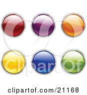Clipart Illustration Of A Collection Of Green Blue Yellow Orange Purple And Red Circular Web Buttons On A White Background