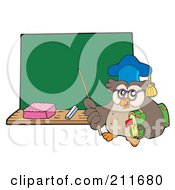 Royalty Free RF Clipart Illustration Of An Owl Teacher With A Pointer Stick And Book Near A Chalk Board