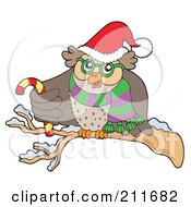 Royalty Free RF Clipart Illustration Of An Owl With A Santa Hat Scarf And Candy Cane