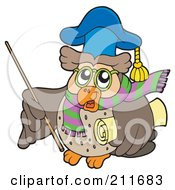 Royalty Free RF Clipart Illustration Of An Owl Teacher With Scarf Stick And Diploma by visekart