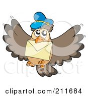 Royalty Free RF Clipart Illustration Of An Owl Mail Man Delivering A Letter by visekart