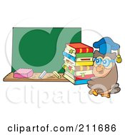 Royalty Free RF Clipart Illustration Of An Owl Teacher Carrying Books By A Chalk Board