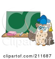 Royalty Free RF Clipart Illustration Of An Owl Teacher With A Pointer Stick Near A Chalk Board
