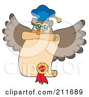 Royalty Free RF Clipart Illustration Of An Owl Teacher Flying With A Certificate by visekart