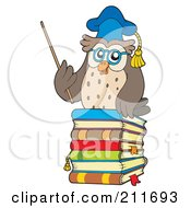 Owl Teacher On A Stack Of Books With A Pointer Stick by visekart