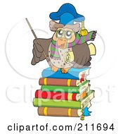 Royalty Free RF Clipart Illustration Of An Owl Teacher Holding A Stick And Diploma And Standing On A Stack Of Books by visekart