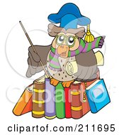 Royalty Free RF Clipart Illustration Of An Owl Teacher Holding A Stick And Diploma And Standing On A Row Of Books by visekart