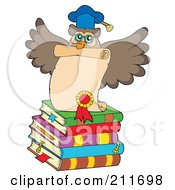 Royalty Free RF Clipart Illustration Of An Owl Teacher On A Stack Of Books With A Diploma by visekart