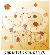Clipart Illustration Of Autumn Leaves And Vines Over A Gradient Orange Background by elaineitalia