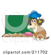 Royalty Free RF Clipart Illustration Of A Dog Teacher With A Diploma By A Chalk Board by visekart