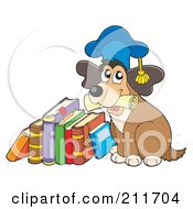 Royalty Free RF Clipart Illustration Of A Dog Teacher Holding A Diploma And Sitting By A Stack Of Books by visekart