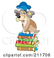 Royalty Free RF Clipart Illustration Of A Dog Teacher Holding A Diploma And Sitting On A Stack Of Books by visekart