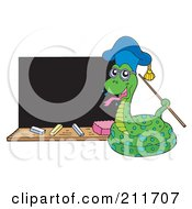 Royalty Free RF Clipart Illustration Of A Snake Professor By A Black Board