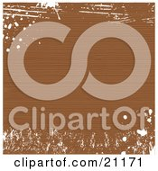Background Of Brown Distressed Wood Grain With White Grunge Splatters by elaineitalia