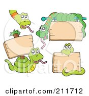 Royalty Free RF Clipart Illustration Of A Digital Collage Of Green Snakes With Blank Signs by visekart