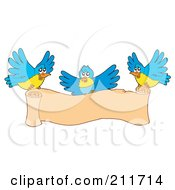Royalty Free RF Clipart Illustration Of Three Blue And Yellow Birds Carrying A Blank Scroll Banner