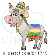 Royalty Free RF Clipart Illustration Of A Cute Donkey Wearing A Mexican Sombrero by visekart