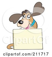 Royalty Free RF Clipart Illustration Of A Cute Friendly Dog Carrying A Sign On A String
