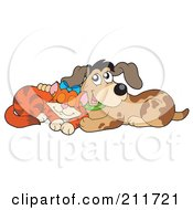 Royalty Free RF Clipart Illustration Of A Marmalade Cat And Dog Cuddling