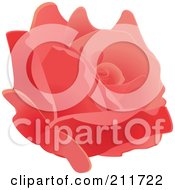 Royalty Free RF Clipart Illustration Of A Beautiful Fully Bloomed Pink Rose Head