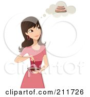 Pretty Woman In A Pink Dress Mixing Ingredients In A Bowl And Imagining Her Cake