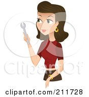 Royalty Free RF Clipart Illustration Of A Pretty Brunette Woman Holding A Wrench