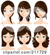 Royalty Free RF Clipart Illustration Of A Digital Collage Of A Pretty Blue Eyed Brunette Woman With Different Hair Styles by Melisende Vector