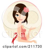 Royalty Free RF Clipart Illustration Of A Pretty Brunette Woman Wearing A Rose In Her Hair And Gesturing Over A Circle