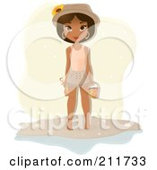 Royalty Free RF Clipart Illustration Of A Pretty Black Woman Holding A Bucket On A Beach by Melisende Vector