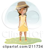 Royalty Free RF Clipart Illustration Of A Pretty Black Woman In A Yellow Summer Dress And Hat by Melisende Vector