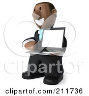 Royalty Free RF Clipart Illustration Of A 3d Black Business Man Facing Left With A Laptop