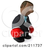 Royalty Free RF Clipart Illustration Of A 3d Black Business Man Wearing Boxing Gloves And Pouting