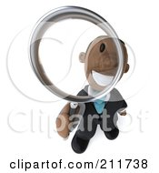 Royalty Free RF Clipart Illustration Of A 3d Black Business Man Looking Up Through A Magnifying Glass