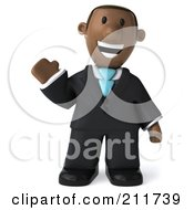 Royalty Free RF Clipart Illustration Of A 3d Black Business Man Facing Front And Waving