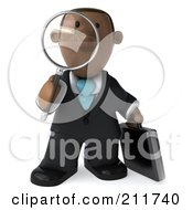 Royalty Free RF Clipart Illustration Of A 3d Black Business Man Facing Front With A Magnifying Glass