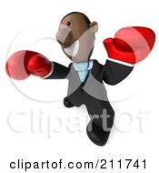 Royalty Free RF Clipart Illustration Of A 3d Black Business Man Boxing With Red Gloves 3