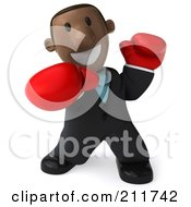 Royalty Free RF Clipart Illustration Of A 3d Black Business Man Boxing With Red Gloves 2 by Julos