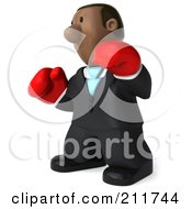 Royalty Free RF Clipart Illustration Of A 3d Black Business Man Boxing With Red Gloves 1 by Julos