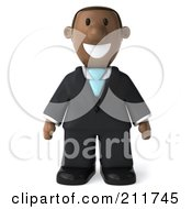 Royalty Free RF Clipart Illustration Of A 3d Black Business Man Standing And Facing Front