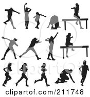 Royalty Free RF Clipart Illustration Of A Digital Collage Of Silhouetted Athletes In Different Poses by Paulo Resende