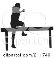 Royalty Free RF Clipart Illustration Of A Black Silhouetted Woman Jumping Over A Hurdle On A Track